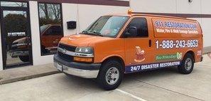 Water Damage Restoration Van Ready At Job Site